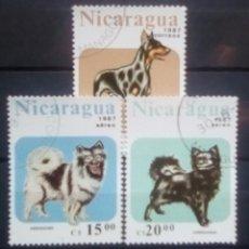 Timbres: PERROS SERIE DE SELLOS USADOS DE NICARAGUA. Lote 190216910