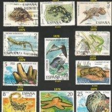Sellos: ESPAÑA VARIOS AÑOS - 14 SELLOS USADOS - TEMA ANIMALES. Lote 194086417