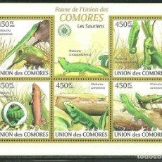 Sellos: COMORES 2009 IVERT 1661/65 *** FAUNA DE COMORES - REPTILES. Lote 195414253