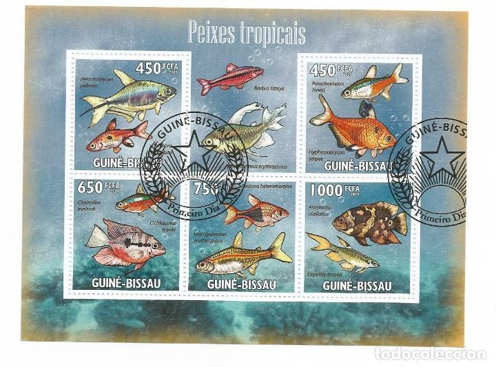 HOJA BLOQUE DE GUINEA BISSAU PECES TROPICALES (Sellos - Temáticas - Fauna)
