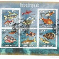 Selos: HOJA BLOQUE DE GUINEA BISSAU PECES TROPICALES. Lote 196379728