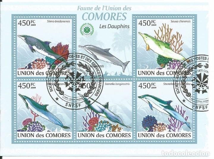 HOJA BLOQUE DE ISLAS COMORES DELFINES (Sellos - Temáticas - Fauna)