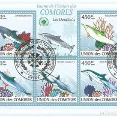 Selos: HOJA BLOQUE DE ISLAS COMORES DELFINES. Lote 196379820