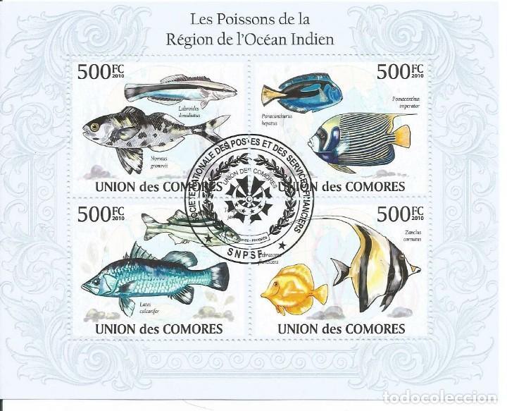 HOJA BLOQUE DE ISLAS COMORES PECES DEL OCEANO INDICO (Sellos - Temáticas - Fauna)