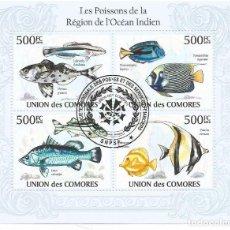 Selos: HOJA BLOQUE DE ISLAS COMORES PECES DEL OCEANO INDICO. Lote 196379996