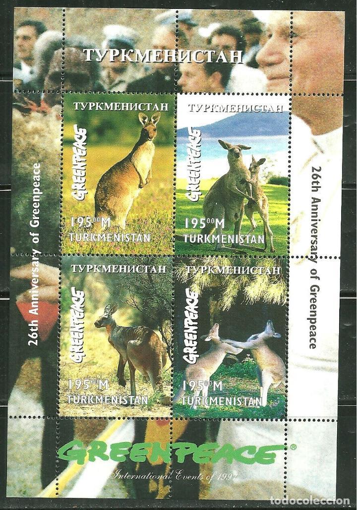 TURKMENISTAN 1997 IVERT 94/97 *** 26º ANIVERSARIO DE GREENPEACE - FAUNA - CANGUROS (Sellos - Temáticas - Fauna)