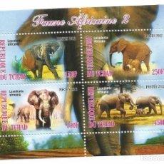 Selos: HOJA BLOQUE DE TCHAD ELEFANTES. Lote 196785910