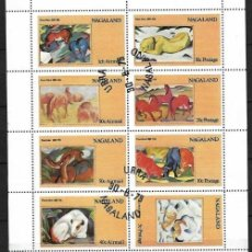 Sellos: HOJA DE 8 SELLOS ANIIMALES SALVAJES Nº 5 NAGALAND INDIA. Lote 197948501