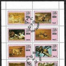 Sellos: HOJA DE 8 SELLOS LEONES Nº 6 DHUFAR ARABIA. Lote 197948758