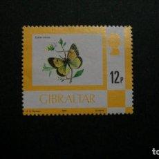 Francobolli: /26-03/-GIBRALTAR-1977-12 P. Y&T 358 EN NUEVO SIN GOMA(*MH)-MARIPOSAS. Lote 198359772