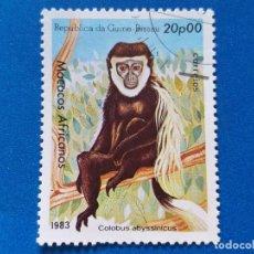 Sellos: SELLO DE GUINEA BISSAU. AÑO 1983. FAUNA. ANIMALES. MACACOS AFRICANOS . Lote 199035903