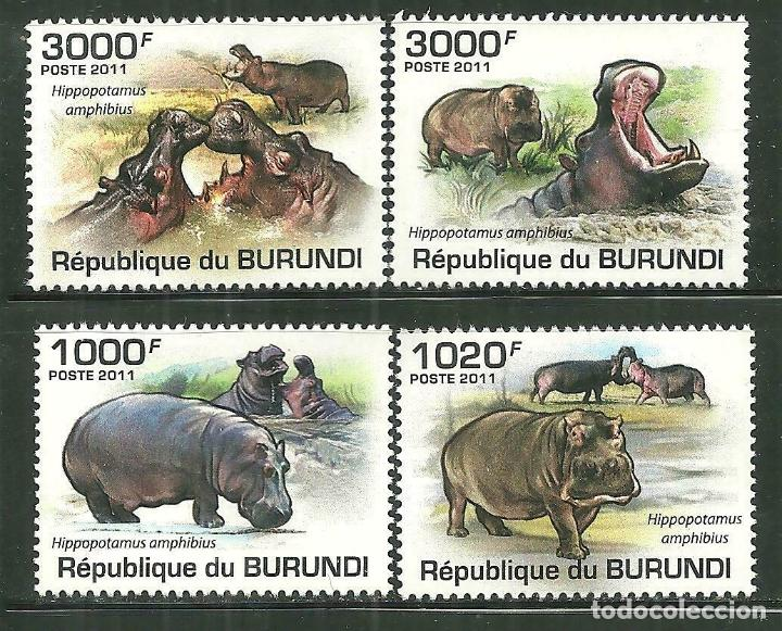 BURUNDI 2011 SCOT 822/25 *** FAUNA - HIPOPOTAMOS (Sellos - Temáticas - Fauna)