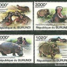 Sellos: BURUNDI 2011 SCOT 822/25 *** FAUNA - HIPOPOTAMOS. Lote 200550736