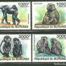 Sellos: BURUNDI 2011 SCOT 827/30 *** FAUNA - MONOS. Lote 200550830