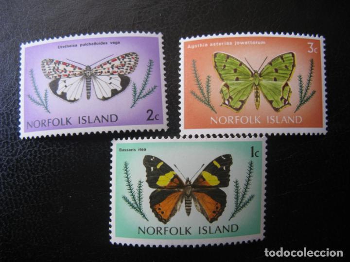 -NORFOLK ISLANDS, 1976, MARIPOSAS, YVERT 180/82 (Sellos - Temáticas - Fauna)