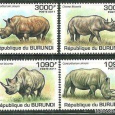 Sellos: BURUNDI 2011 SCOT 832/35 *** FAUNA - RINOCERONTES. Lote 203570730