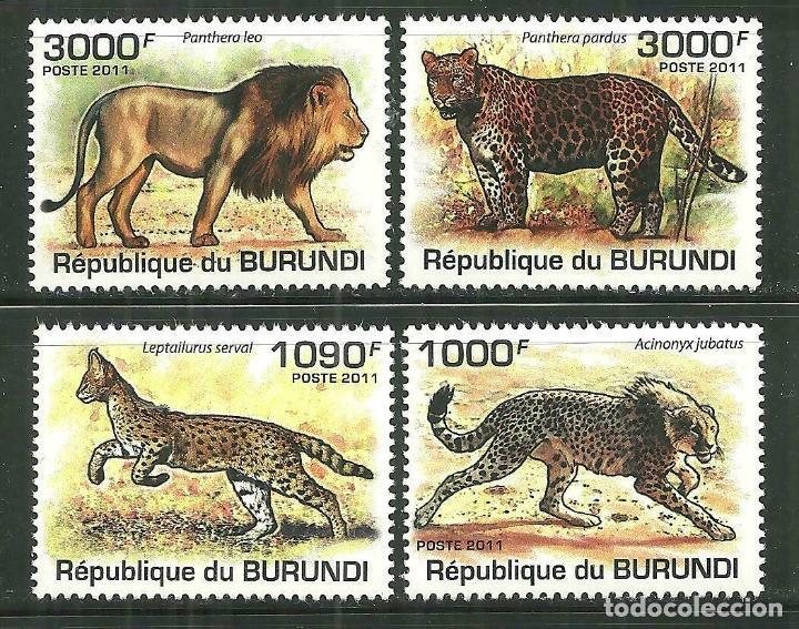 BURUNDI 2011 SCOT 842/45 *** FAUNA - TIGRES Y LEONES (Sellos - Temáticas - Fauna)