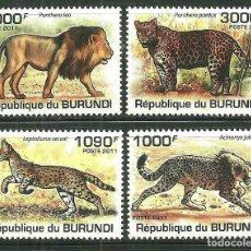Sellos: BURUNDI 2011 SCOT 842/45 *** FAUNA - TIGRES Y LEONES. Lote 203570852