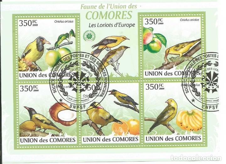 HOJA BLOQUE DE ISLAS COMORES PAJAROS DE EUROPA (Sellos - Temáticas - Fauna)