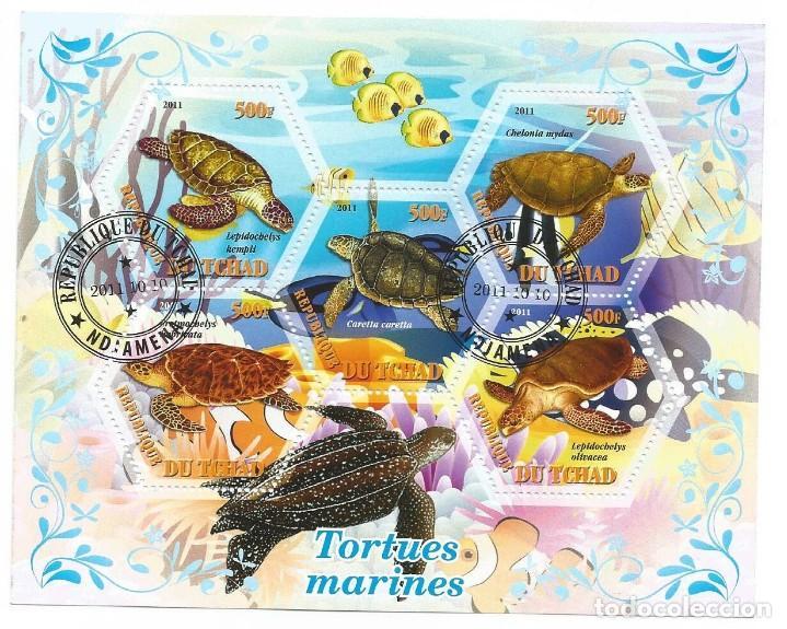 HOJA BLOQUE DE TCHAD TORTUGAS (Sellos - Temáticas - Fauna)
