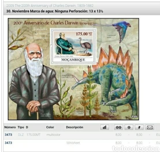 Sellos: HB 2 +Sellos Mozambique mtda/2009/200 Aniv/Darwin/evolucion/animales/prehistoria/dinosaurios/aves/f - Foto 2 - 204995535