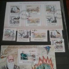 Sellos: HB 2 +SELLOS MOZAMBIQUE MTDA/2009/200 ANIV/DARWIN/EVOLUCION/ANIMALES/PREHISTORIA/DINOSAURIOS/AVES/F. Lote 204995535