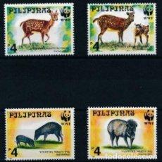 Sellos: FILIPINAS 1997 IVERT 2354/57 *** FAUNA PROTEGIDA - CIERVOS Y JABALIES. Lote 205827676