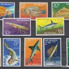 Sellos: NICARAGUA 1969 AEREO IVERT 635/44 *** FAUNA MARINA - PECES DIVERSOS. Lote 206148056