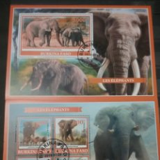 Sellos: HB (2) BURKINA FASO MTDA/2019/ELEFANTE/ANIMALES/NATURALEZA/MAMOFEROS/COLMILLO/SABANA/LEON/FAUNA. Lote 206280262