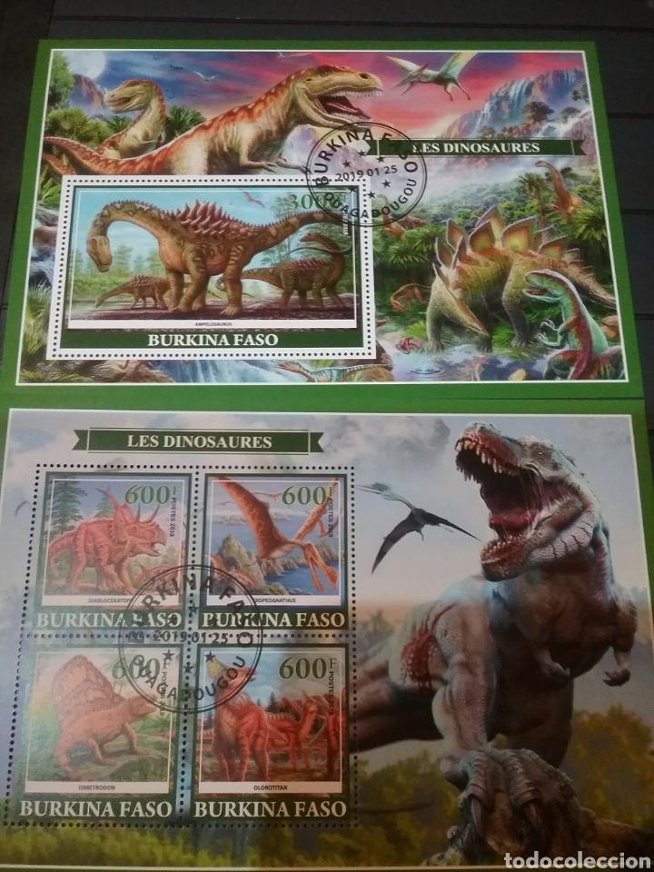 HB (2) BURKINA FASO MTDA/2019/ANIMALES/NATURALEZA/FAUNA/PREHISTORICO/DINOSAURIOS/RAPTOR/AVES/REX (Sellos - Temáticas - Fauna)