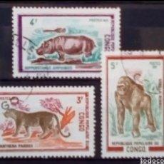 Sellos: FAUNA SALVAJE SERIE DE SELLOS USADOS DE CONGO. Lote 207170252