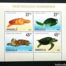 Sellos: ANGOLA TORTUGAS HOJA BLOQUE DE SELLOS NUEVOS. Lote 207261562