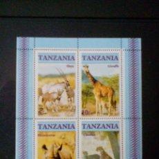 Sellos: FAUNA AFRICANA HOJA DE SELLOS NUEVOS DE TANZANIA. Lote 207307991