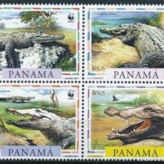 Sellos: PANAMA 1997 IVERT 1138/41 *** PROTECCIÓN DE LA NATURALEZA - FAUNA - COCODRILOS. Lote 207527806