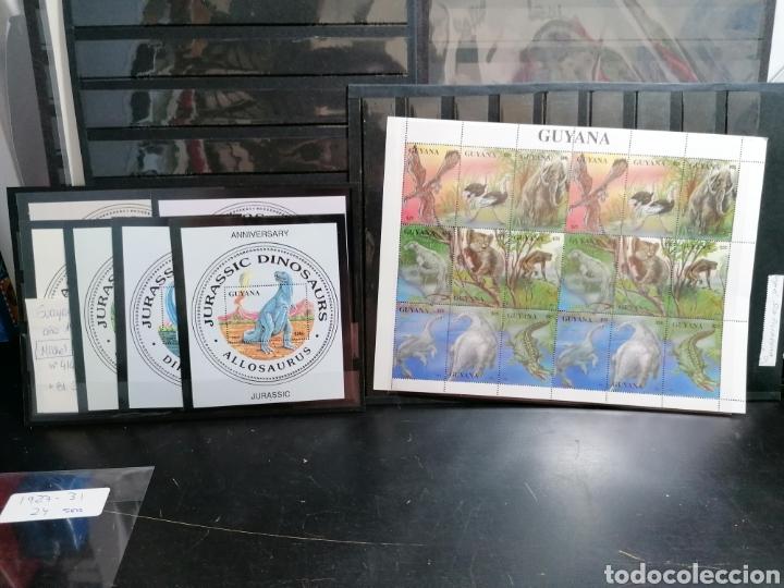 DINOSAURIOS GUAYANA SELLOS SERIE COMPLETA MICHEL 4146/4 + HB 274/9 (Sellos - Temáticas - Fauna)