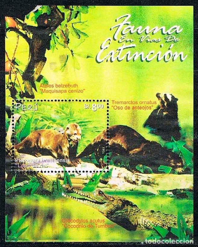 PERU Nº 1800, FAUNA EN PELIGRO DE EXTINCIÓN: NUTRIA GIGANTE, USADO EN HOJA BLOQUE SIN MATASELLAR (Sellos - Temáticas - Fauna)