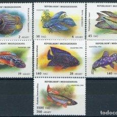 Sellos: MADAGASCAR 1994 IVERT 1398/404 *** FAUNA MARINA - PECES DE ACUARIO. Lote 211965572