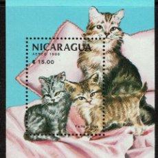 Sellos: SERIE HOJA GATOS NICARAGUA 1988. NUEVO. Lote 212522241