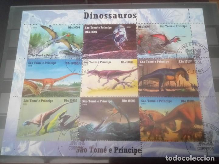DINOSAURIOS, MINI PLIEGO DE STO TOMÉ (Sellos - Temáticas - Fauna)