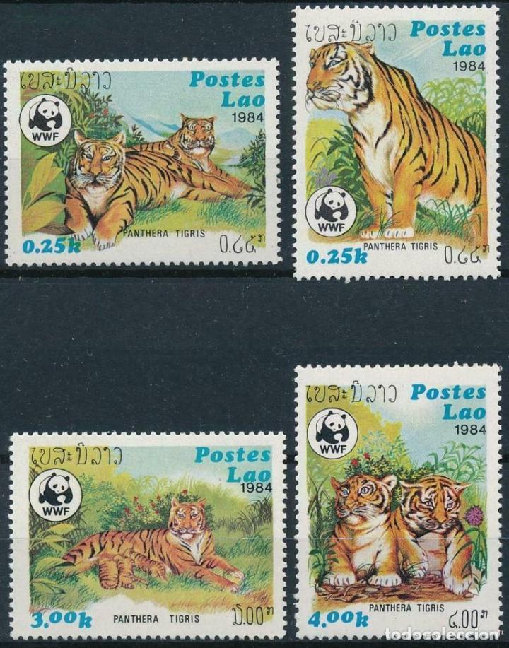 LAOS 1984 IVERT 521/4 *** FAUNA SALVAJE - PROTECCIÓN DE LA FAUNA - TIGRE ASIÁTICO (Sellos - Temáticas - Fauna)