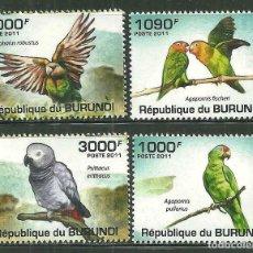 Sellos: BURUNDI 2011 *** FAUNA - LOROS. Lote 215367476