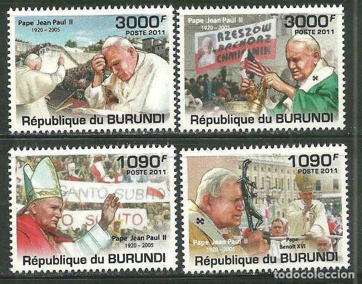 BURUNDI 2011 *** RELIGIÓN - VIAJE DEL PAPA JUAN PABLO II (Sellos - Temáticas - Fauna)