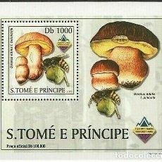 Sellos: S. TOME Y PRINCIPE 2003 HOJA BLOQUE SELLO FLORA Y FAUNA- ABEJAS - CHAMPIGNONES- BANGKOK 2003. Lote 215443547