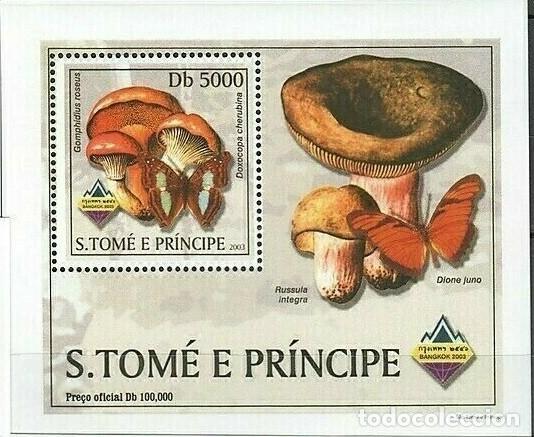 S. TOME Y PRINCIPE 2003 HOJA BLOQUE SELLOS FLORA Y FAUNA - CHAMPIGNONES Y MARIPOSAS (Sellos - Temáticas - Fauna)