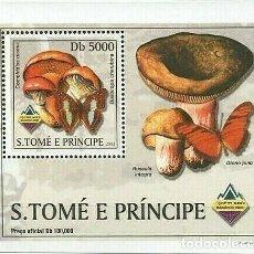 Sellos: S. TOME Y PRINCIPE 2003 HOJA BLOQUE SELLOS FLORA Y FAUNA - CHAMPIGNONES Y MARIPOSAS. Lote 215445296