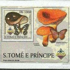Sellos: S. TOME Y PRINCIPE 2003 HOJA BLOQUE SELLOS FLORA Y FAUNA - CHAMPIGNONES Y MARIPOSAS. Lote 215445405