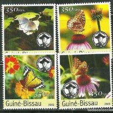 Sellos: GUINEA BISSAU 2003 IVERT 1054/7 *** FAUNA - MARIPOSAS - CARA LORD BADEN POWELL - SCOUTISMO. Lote 215462600