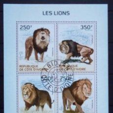 Selos: LEONES HOJA BLOQUE DE SELLOS USADOS DE COSTA DE MARFIL 2014. Lote 216711371