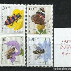 Sellos: 1703B-ALEMANIA BERLIN MNH** SERIE COMPLETA INSECTOS 1984 Nº1034/7 VALOR 9,00€ BONITOS NATURALEZA.. Lote 216900777