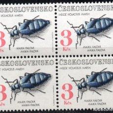 Sellos: CHECHOSLOVAQUIA /1992/MNH/SC#2865/ MELOE VIOLACEUS CUCARACHA/ INSECTOS / BLOQUE DE 4. Lote 217460368